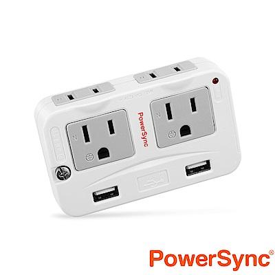 群加 Powersync 2P+3P 4插+2埠USB防雷擊 壁插 (TWTMN4SB)