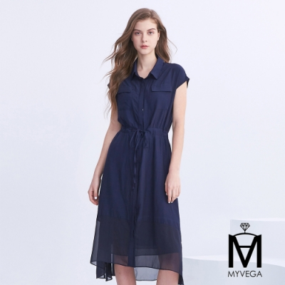 麥雪爾 MA氣質翻領口袋素面長洋裝