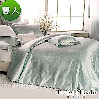 Tonia Nicole東妮寢飾 綠珀微雪蠶絲高紗支精梳棉緹花被套床包組(雙人)