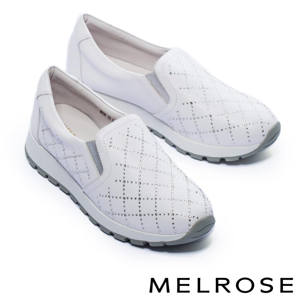 休閒鞋 MELROSE 率性迷人璀璨晶鑽全真皮厚底休閒鞋-白