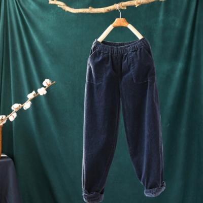 素色棉質燈芯絨鬆緊腰寬鬆顯瘦哈倫長褲-設計所在