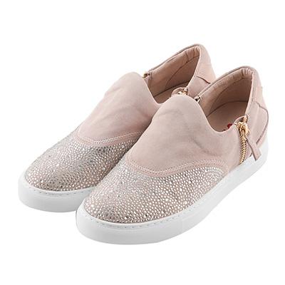 BESO耀眼弧度 燙鑽雙拉鏈休閒鞋~粉