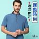 oillio歐洲貴族 男裝 短袖立領衫 吸濕排汗衫 異型斷面紗處理 超柔防皺 藍色 product thumbnail 1