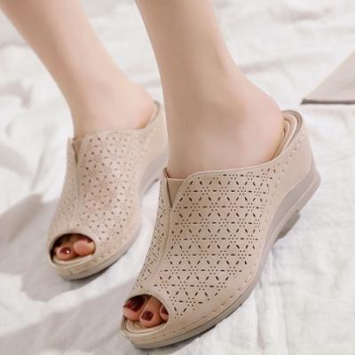 LN 現+預 輕盈復古坡跟魚口拖鞋-3色