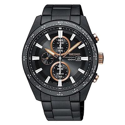 SEIKO 精工CRITERIA太陽能運動腕錶-黑金SSC661P1/V176-0AV0X