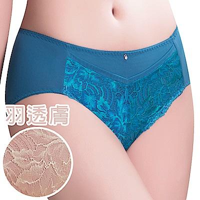 思薇爾 撩波葉之舞系列M-XXL蕾絲中腰三角內褲(羽透膚)