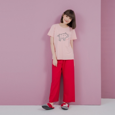 YVONNE 九分寬褲-紅