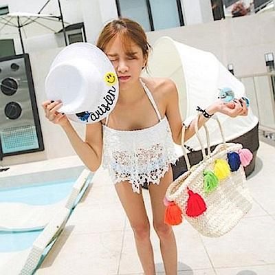 AH dream夢想女孩 鋼圈 兩件式 白色蕾絲荷葉邊比基尼泳裝