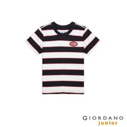 GIORDANO 童裝復古立體膠印布章條紋T恤-01 標誌海軍藍