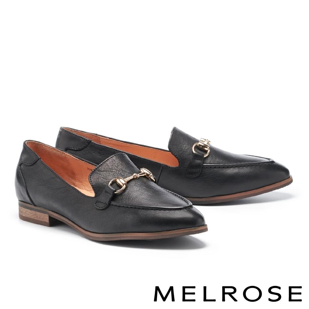 低跟鞋 MELROSE 復古時尚金屬飾釦全真皮樂福低跟鞋-黑