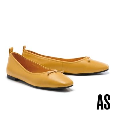平底鞋 AS 舒適質感鬆緊股帶全真皮方頭平底鞋-黃