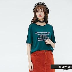 H:CONNECT 韓國品牌 女裝-標語風格圓領T-shirt-綠