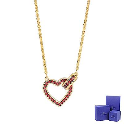 SWAROVSKI 施華洛世奇 LOVELY璀璨紅水晶愛心金色項鍊