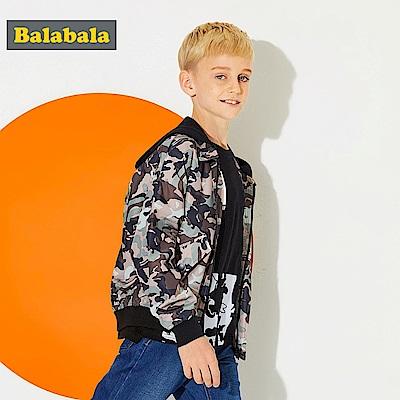 Balabala巴拉巴拉-寬版落肩潮流男孩連帽外套-男(2色)