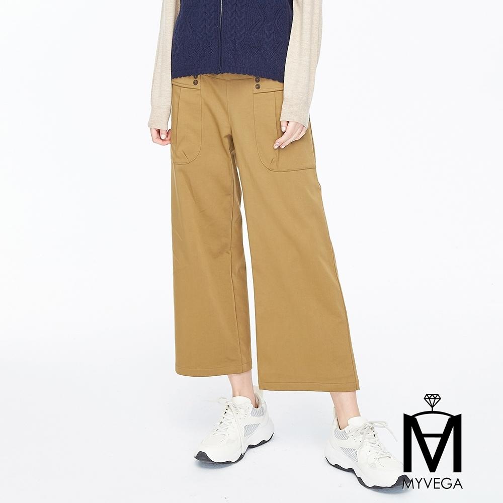 麥雪爾 MA純棉大口袋壓摺寬褲-駝色