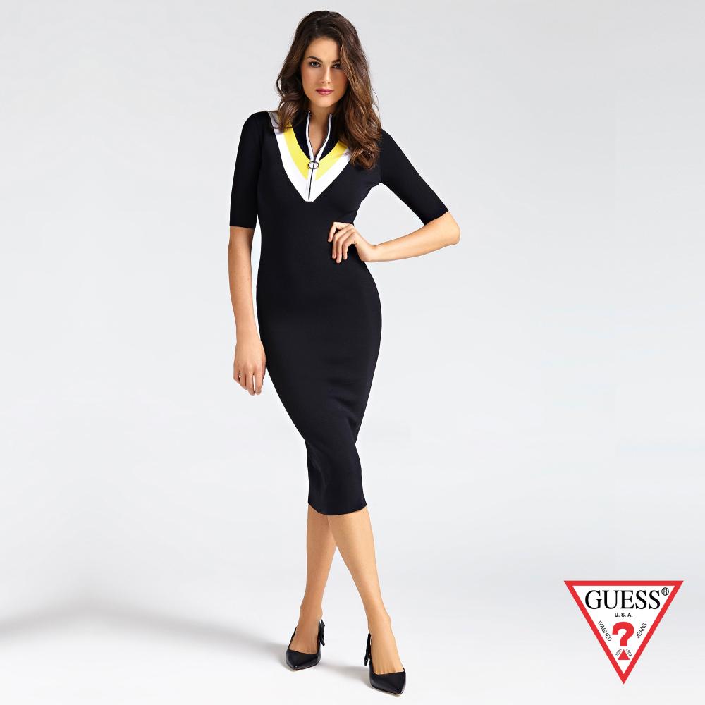 GUESS-女裝-拼色針織短袖連身裙-黑 原價3290