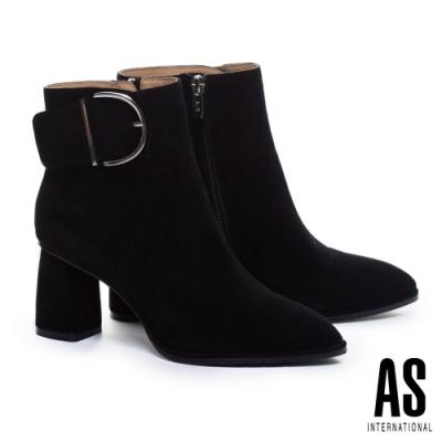 短靴 AS 復古率性全真皮尖頭高跟短靴-黑