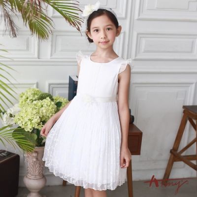 Annys安妮公主-優雅蕾絲風琴摺蝴蝶結網紗裙擺立體花朵網紗袖洋裝*7115白
