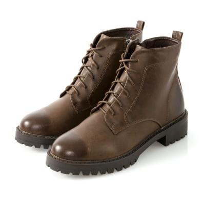 JMS-魔力擦色素面綁帶拉鍊短靴-棕色