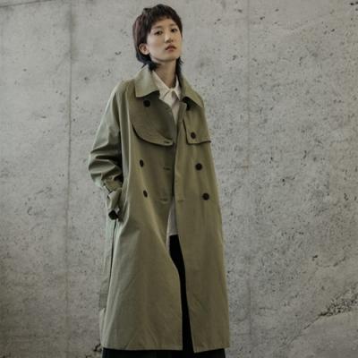 設計所在Style-歐美秀場個性中長版寬鬆雙排扣風衣外套