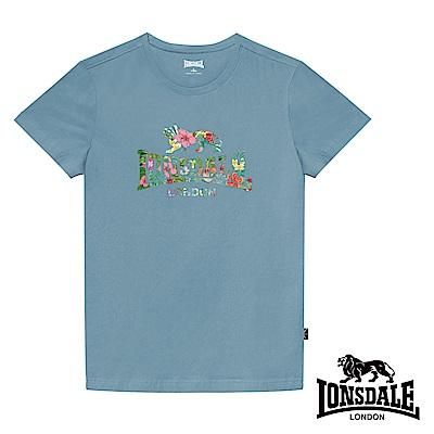 【LONSDALE 英國小獅】夏日扶桑花LOGO短袖T恤-淺藍LT002