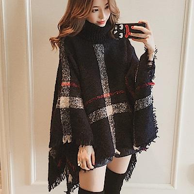 Decoy 精品格紋 保暖高針織領毛衣斗篷披肩 黑