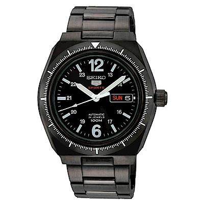 SEIKO 黑色旋風5號自動機械不鏽鋼男錶(SRP249J1)-黑x45mm