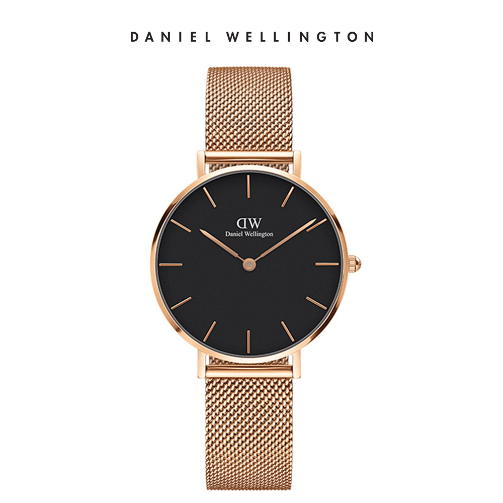 DW 手錶 官方旗艦店 32mm玫瑰金框 Petite 香檳金米蘭金屬錶