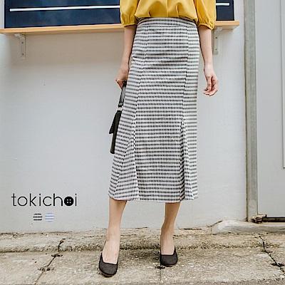 東京著衣 格子顯瘦微傘擺長裙-S.M.L(共二色)