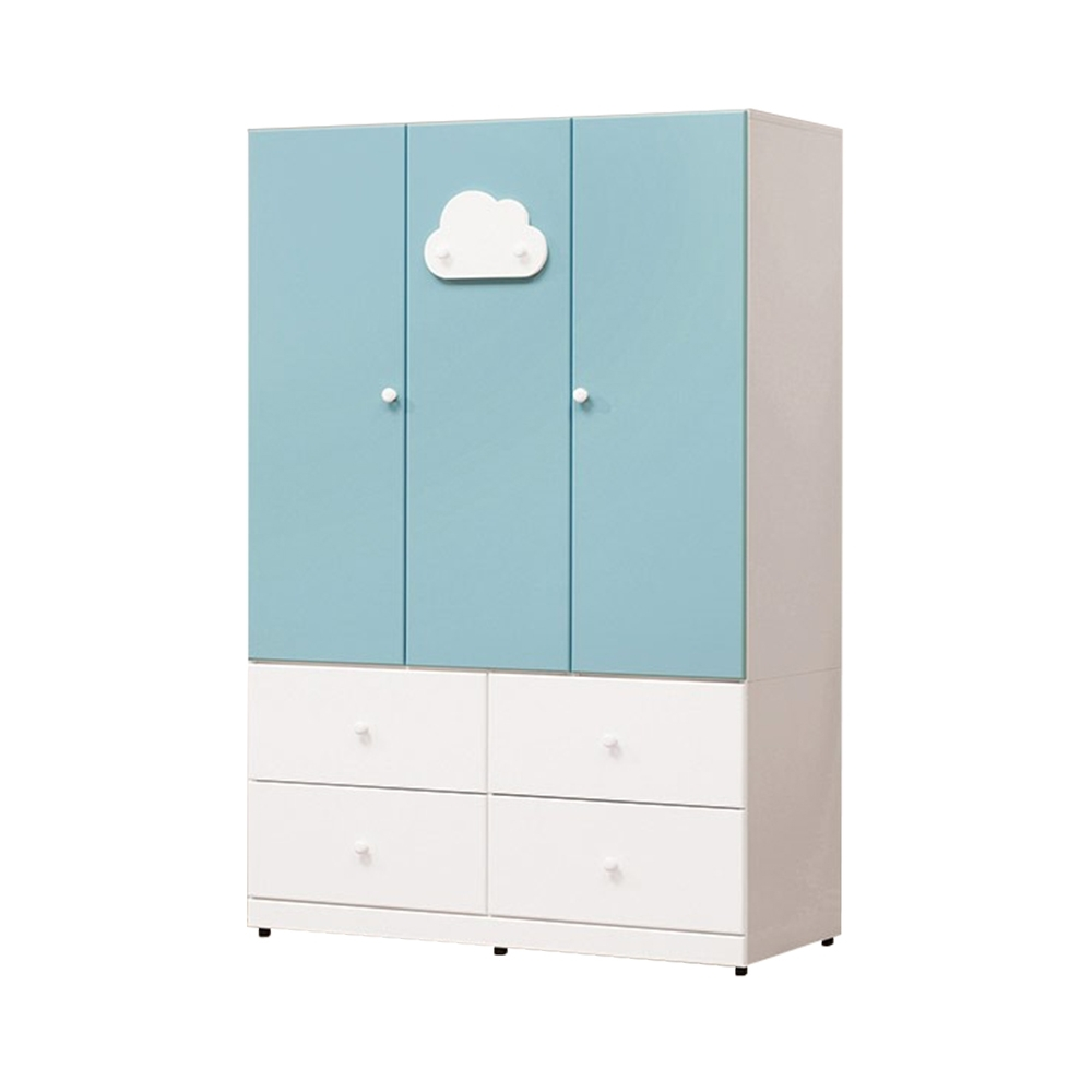 H&D 雲朵藍白色4尺衣櫃