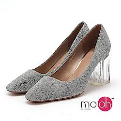 mo.oh - 金屬色亮片銀色粗高跟鞋-銀色