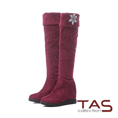 TAS花朵燙鑽3way素面內增高膝上靴–亮眼紅