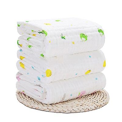 JoyNa澎澎紗六層紗布抱被蓋毯水洗印花紗布浴巾105*105CM