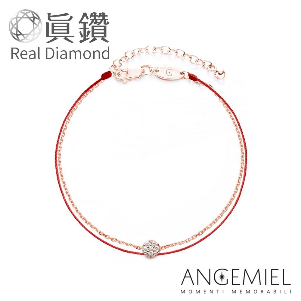 Angemiel安婕米 真鑽 幸運雙層紅繩銀鍊手鍊 璀璨(玫瑰金)