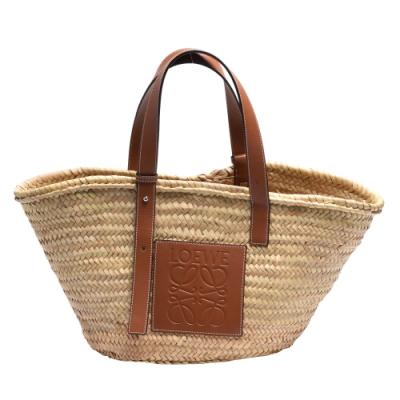 LOEWE Basket系列品牌LOGO烙印小牛皮提把竹編提籃手提/肩背包(中-焦糖棕)
