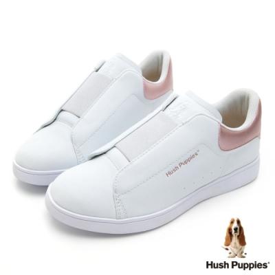 Hush Puppies 輕量皮革直套式繃帶厚底鞋-玫瑰金
