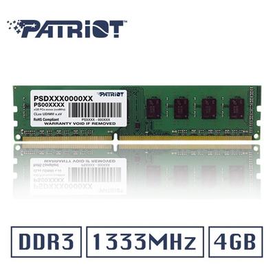 (6/20前再送3%超贈點)Patriot美商博帝DDR3 1333 4GB 桌上型記憶體 (PSD34G13332)