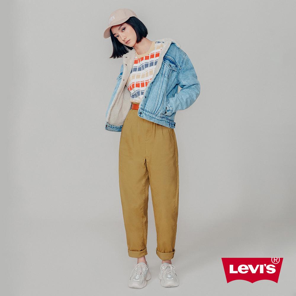 Levis 女款 Balloon 時髦高腰繭型褲 卡其基本 及踝款 彈性布