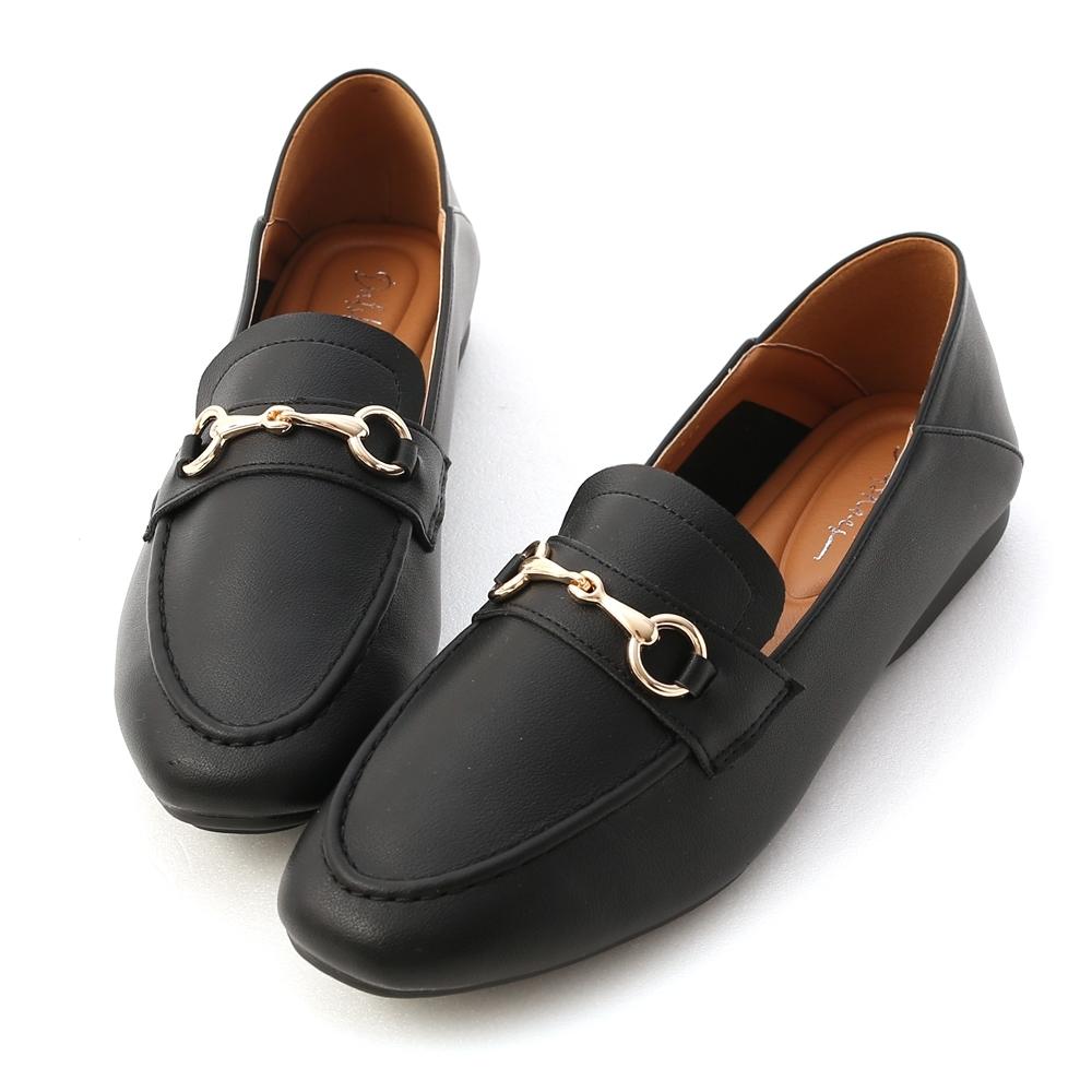 D+AF 學院風範.超軟Q馬銜釦樂福鞋*黑
