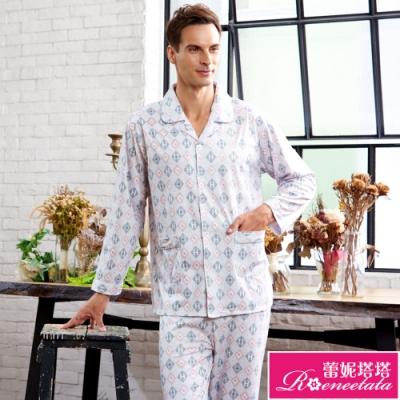 睡衣 針織棉男性長袖褲裝睡衣(R88225-6灰粉格紋) 蕾妮塔塔