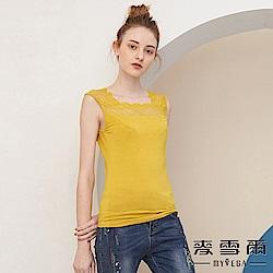 【麥雪爾】水鑽方領蕾絲棉質背心-黃