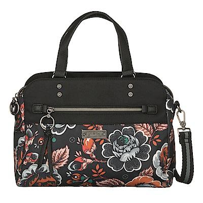 織帶托特小手提包-法國玫瑰復刻印花 -經典黑 LiliO