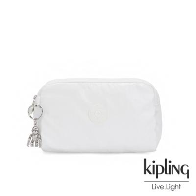 Kipling 時尚極簡白長形化妝包-GLEAM