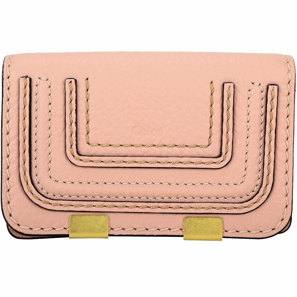 CHLOE Marcie 粒面小牛皮釦式卡片夾(粉色)