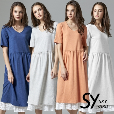 [時時樂限定] SKY YARD 天空花園 都會悠閒風下擺拚接蕾絲短袖長洋裝-四色