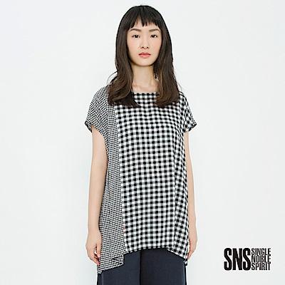 SNS 慢靈魂粗細格紋拼接設計上衣(2色)