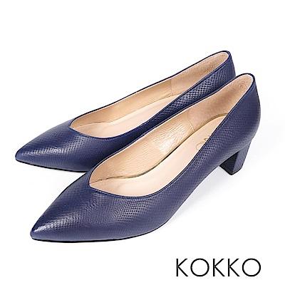 KOKKO - 愛的呢喃粗跟尖頭高跟鞋-沉靜藍