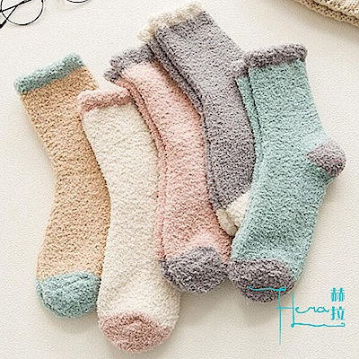Hera赫拉毛巾珊瑚絨保暖可愛長襪子2雙一組