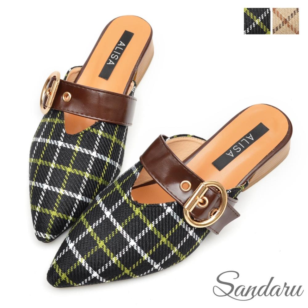 山打努SANDARU-尖頭鞋 時尚格紋金屬扣木紋低跟鞋-黑