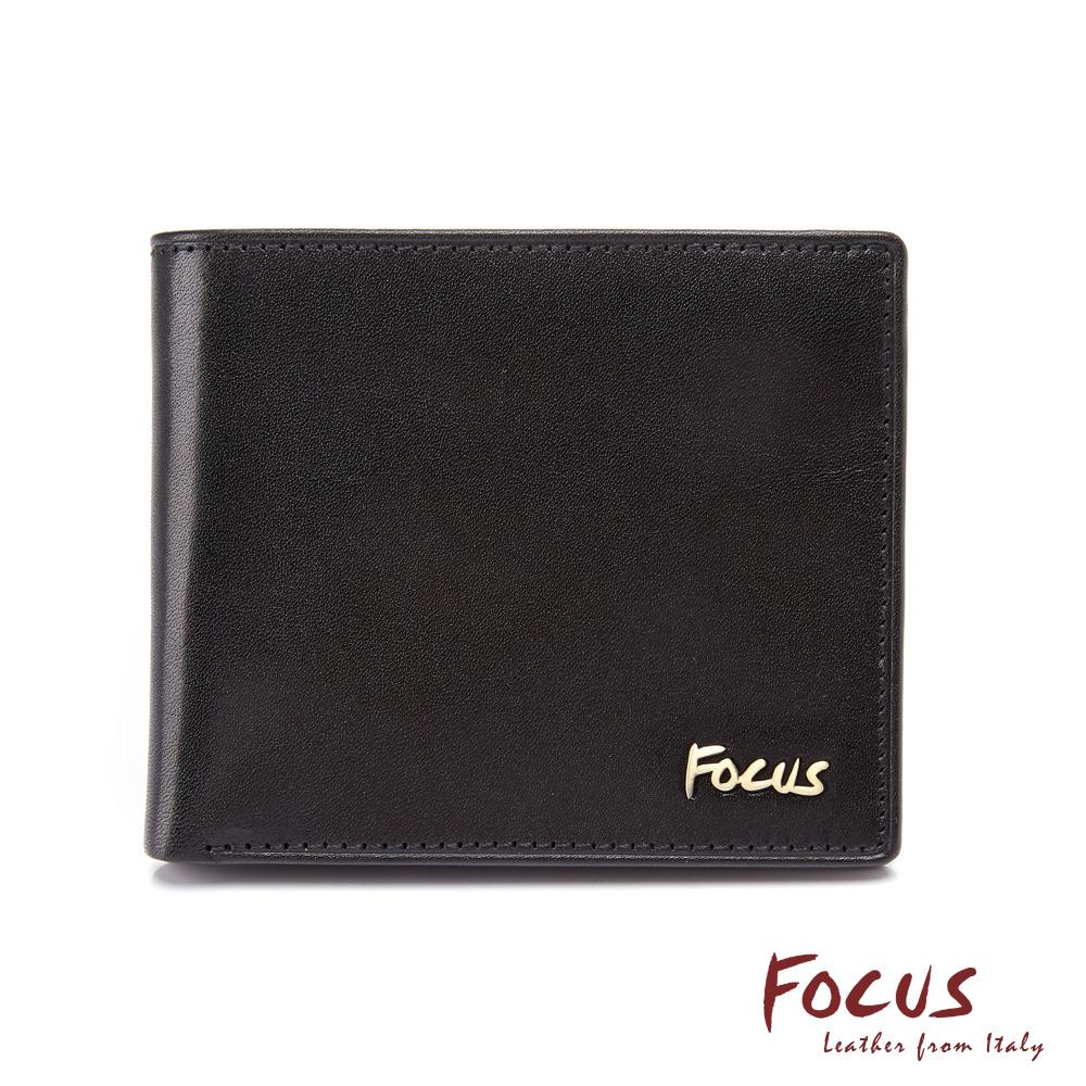 FOCUS原皮時尚黑簡約透明窗拉鍊男短夾(FGB2288)